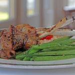 leg of lamb plate with green beans