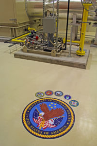 HVAC equipment with Department of Veterans Affairs seal on floor