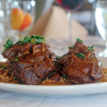 braised beef with barley and spinach