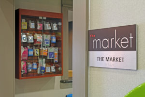 closeup of market sign inside hotel