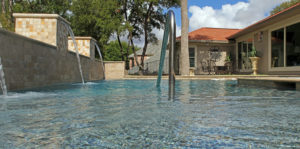 pool entrance with water features