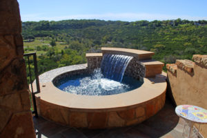 hot tub overlooking hill