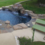 birds eye view of backyard pool with waterfall feature
