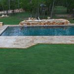 backyard pool in wooded yard