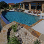 residential pool with hot tub infinity edge