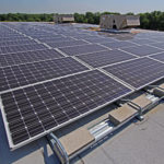 rooftop with solar panels and HVAC