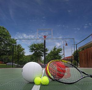 closeup of sports equipment on basketball court