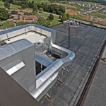 crane shot of commercial building HVAC