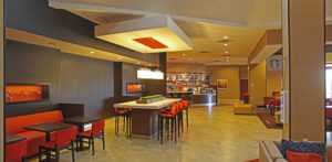 empty hotel lounge with cafe area