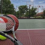 sports equipment closeup on basketball court