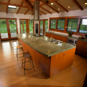 kitchen with stained concrete counters