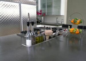 stained concrete kitchen island