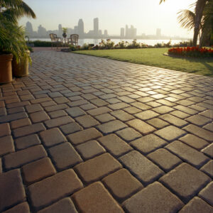 paved stone walkway at sunset