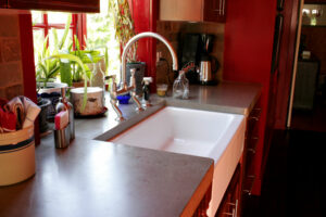 stained concrete kitchen countertop