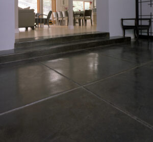 entry way with stained concrete floor