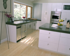 kitchen with stained concrete countertops