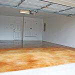 stained concrete inside empty garage