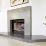 stained concrete fireplace