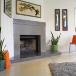 fireplace with stained concrete