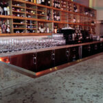 closeup of stained cement bar inside wine bar